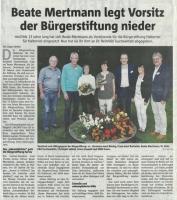 Beate Mertmann legt Vorsitz der Bürgerstiftung nieder- Halterner Zeitung im September 2019