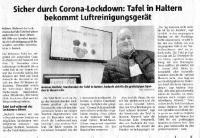 Sicher durch Corona Lockdown - Tafel erhält Luftreinigungsgerät - Halterner Zeitung im Dezember